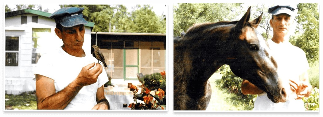 Left: Mario Masiello holds a small bird in his hand. Right: Mario Masiello standing beside his horse.