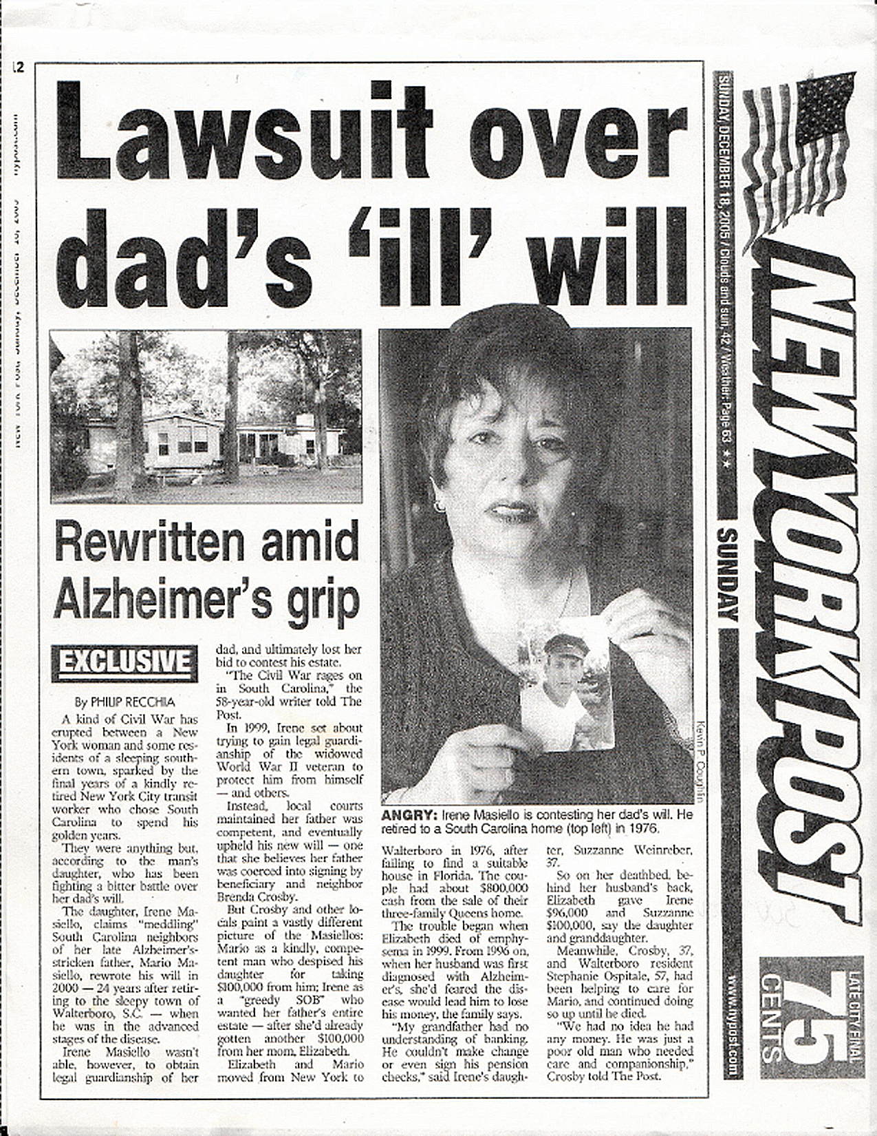 """Lawsuit over dad's 'ill' will"": NY Post article describes Irene Masiello's case against her father's former caretakers."